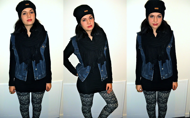Jeansweste Leggings Outfit Urban Outfitters Carhartt Mütze Schlumpf beanie Jeansweste selber machen Winteroufit casual