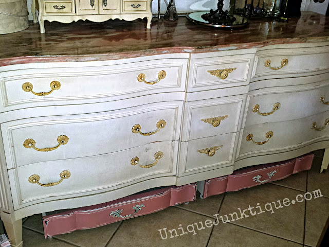 Vintage Dresser with Marble Top and Storage Junk Drawers