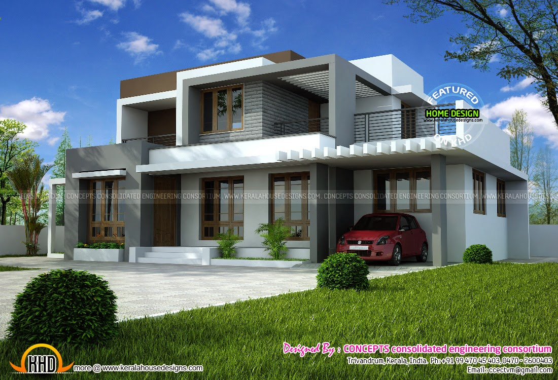 1722 square feet modern flat roof house kerala home for Modern flat roof house