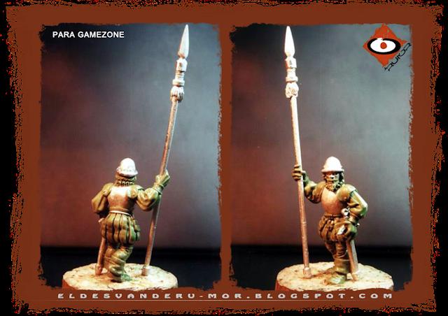 Miniatura diseñada y esculpida por ªRU-MOR para gamezone, de los tercios del Imperio a escala warhammer fantasy. Representa a un piquero
