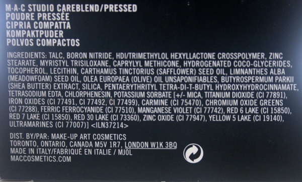 MAC Studio Careblend Powder in Medium Dark Ingredients