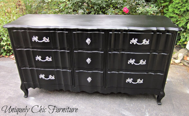 Glossy black dresser from Uniquely Chic Furniture
