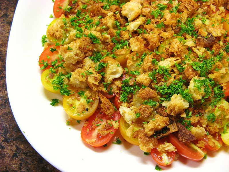tomato salad with crushed tomato and crouton salad crushed crouton ...