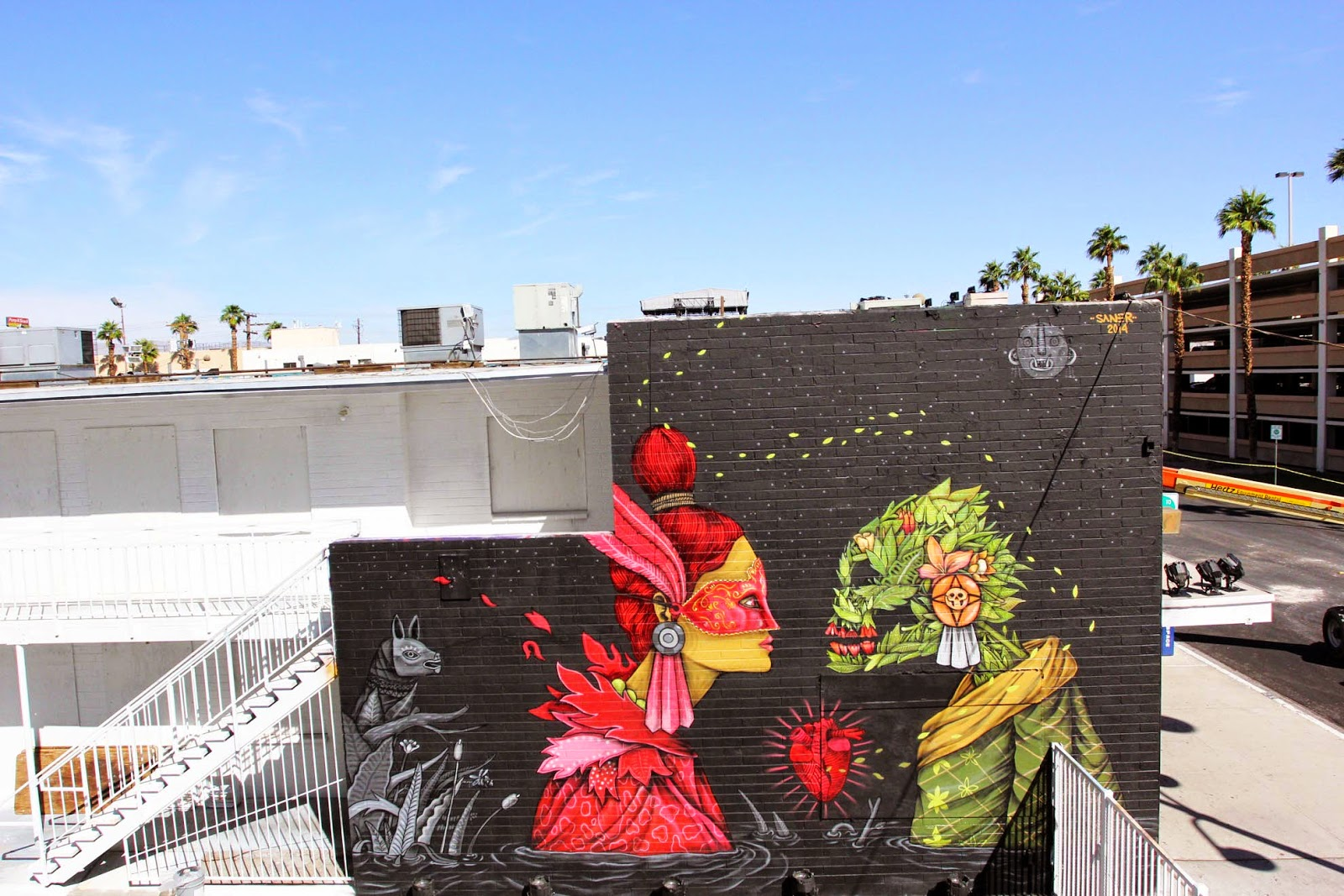While you discovered some progress shots a few days ago, Saner has now completed his newest piece on the streets of Las Vegas.