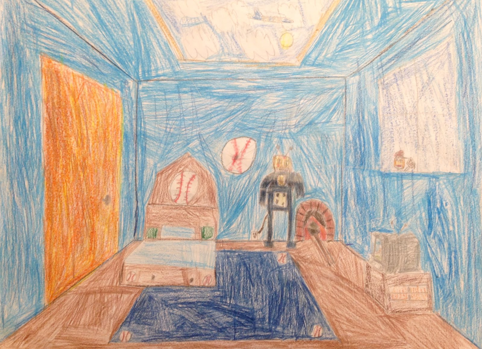 One point perspective dream bedroom - In One Point Perspective All Diagonal Lines Lead To The Same Point Called The Vanishing Point Students Designed And Created Their Dream Rooms