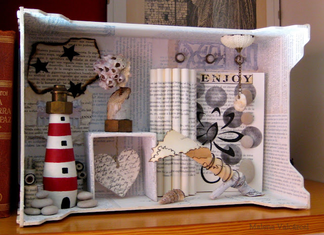 seashells light house folded book stones