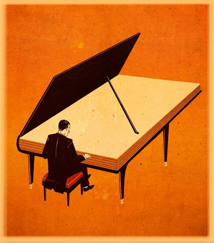pianist playing on a piano book illustration by Emiliano Ponzi