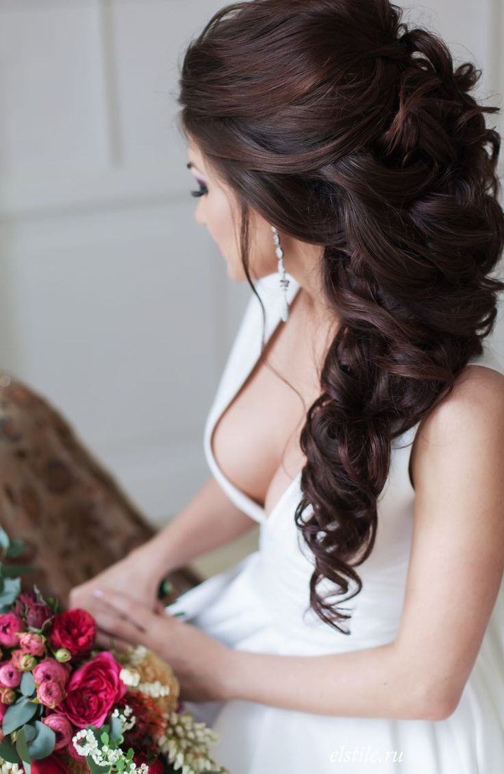 прически для свадьбы на длинные волосы