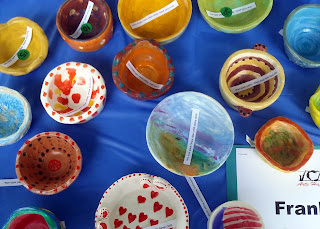 ceramic bowls crafted by members of the Franklin Art Assoc.