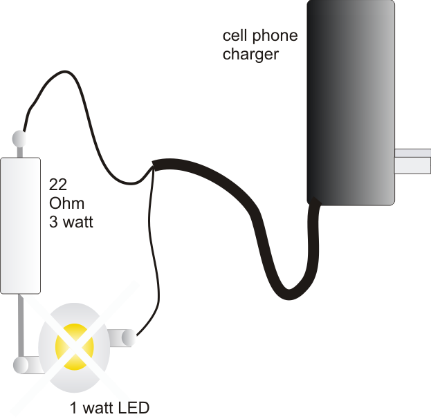 1 watt led driver using a cell phone charger electronic circuit 1 watt led driver using a cell phone charger