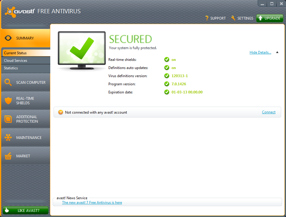 avast! Home Edition freeware screenshot