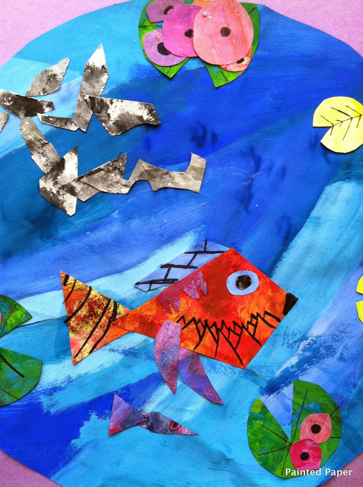 Painted paper charley harper fish habitats for Charley s fishing
