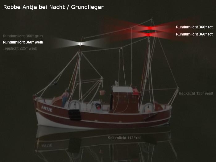 Antje von Robbe - Position der möglichen neuen Beleuchtung - Topplicht und Rundumlichter - Grundlieger