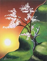 dipinti vajra rinascita albero fiori fiorito quadro disegno pittura spirituale arte zen