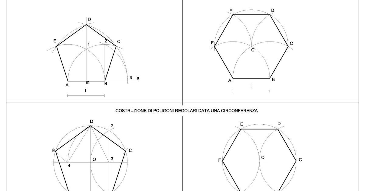 Disegno geometrico artedis pentagono ed esagono dato il for Costruzione ottagono dato il lato