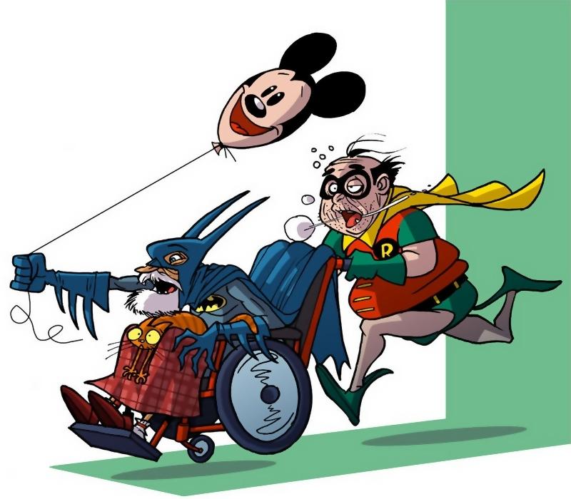 Batman & Robin på jagt, som gamle mænd med kørestol