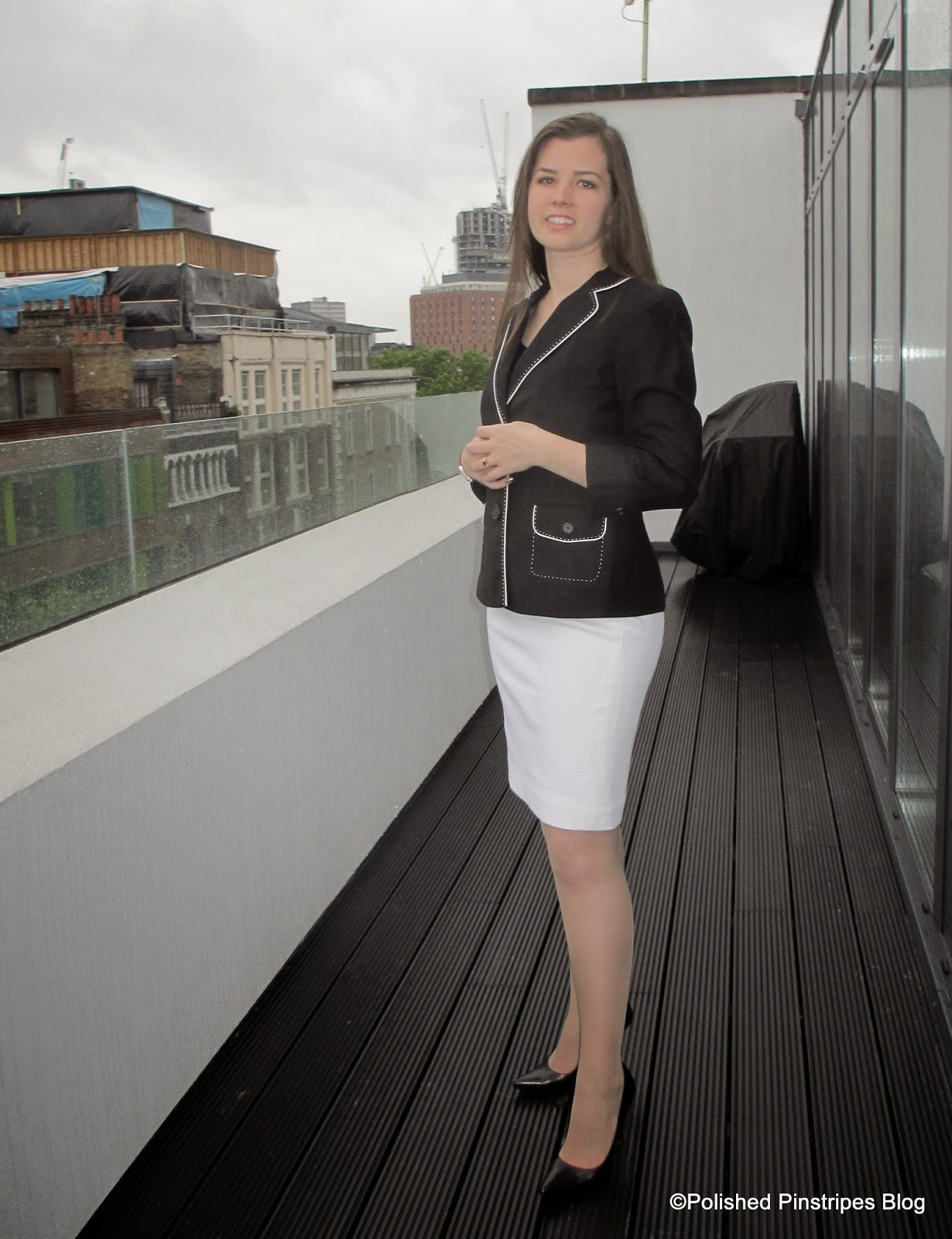What To Wear To Work: Black U0026 White Blazer And Pencil Skirt