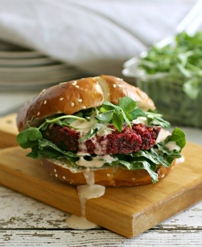 Beet and Chickpea Burgers with Feta and Tahini