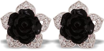 Tanya Rossi Black Rose Crystal Silver Earrings TRE 435 Rs 2950