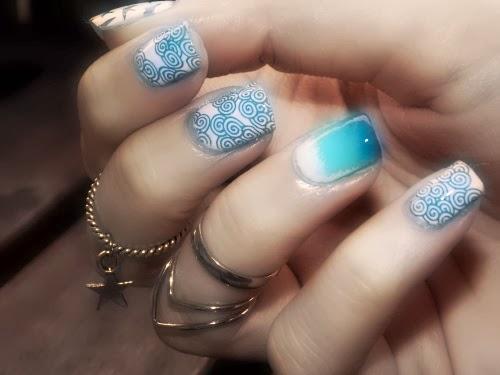 moyou suki and metallic blue, suki plate moyou london blue polish