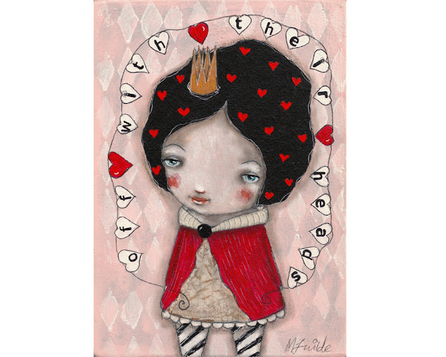 Queen of hearts painting on wood by Micki Wilde