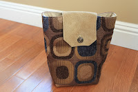 upholstery gift bag geometric upcycled fabric blue bronze gold handiworkingirls