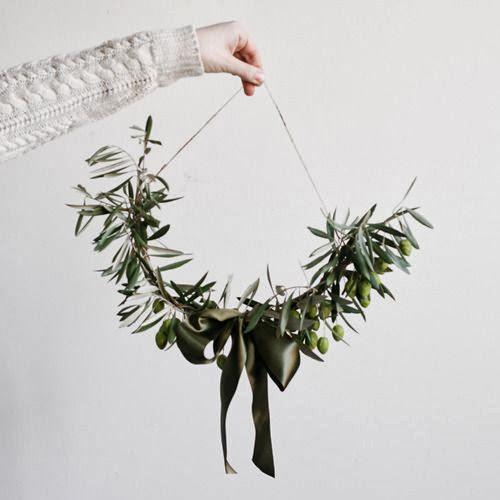 decoración navidad con olivo