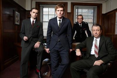 Jakes (Jack Laskey), Morse (Shaun Evans), Bright (Anton Lesser), Thursday (Roger Allam) in ITV's Endeavour