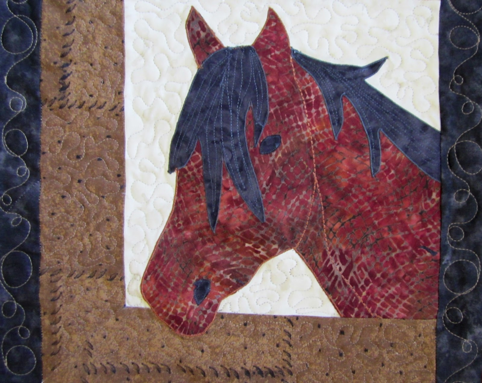 Robertas Custom Quilting Horse Applique Quilt