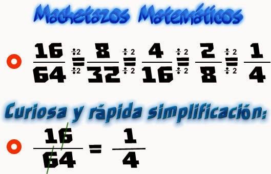 Fracciones, Simplificación, Simplificación de fracciones, Curiosidades matemáticas, Curiosidades en la simplificación de fracciones