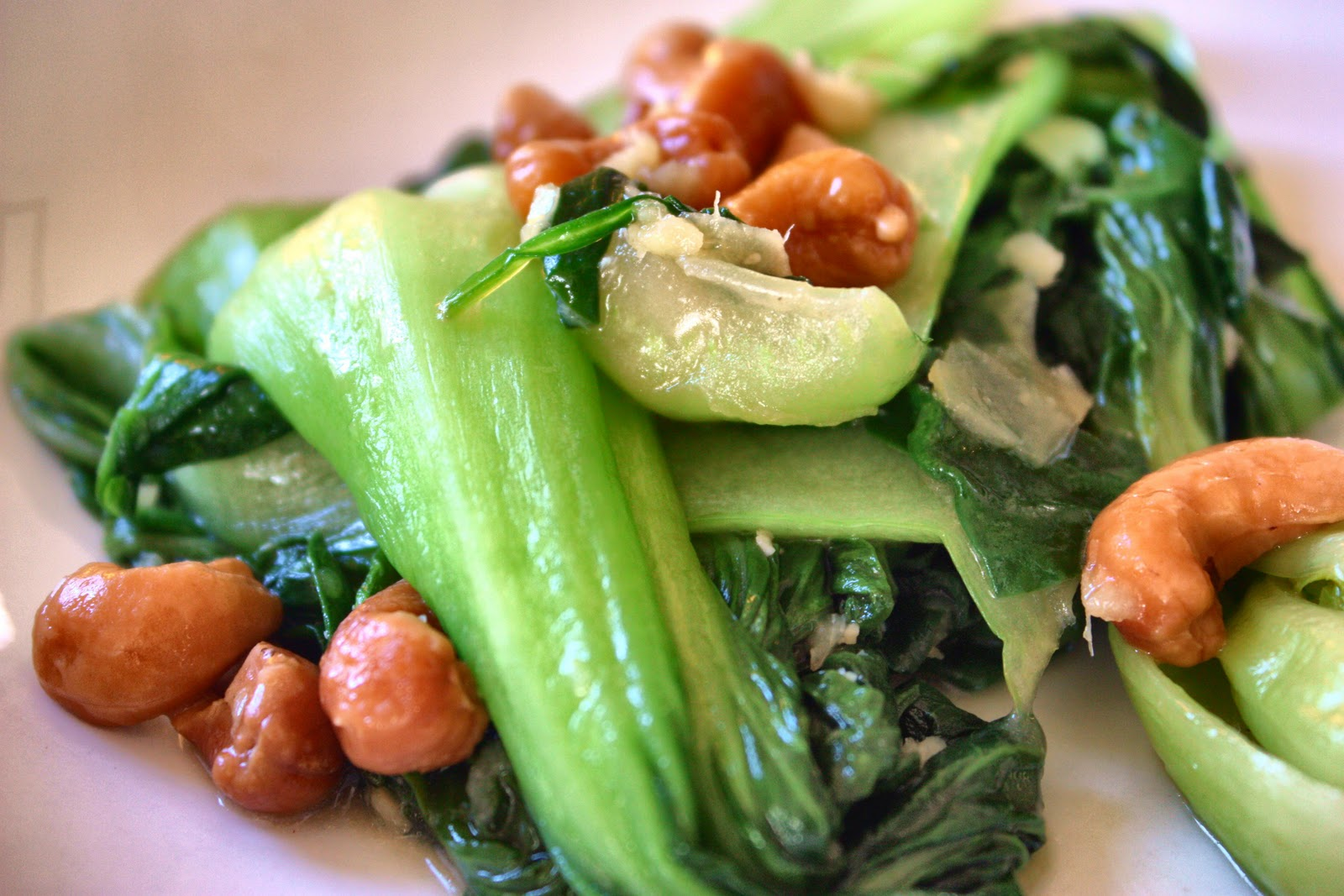 Veganess Eats: Cashews and Baby Bok Choy with Ginger Glaze