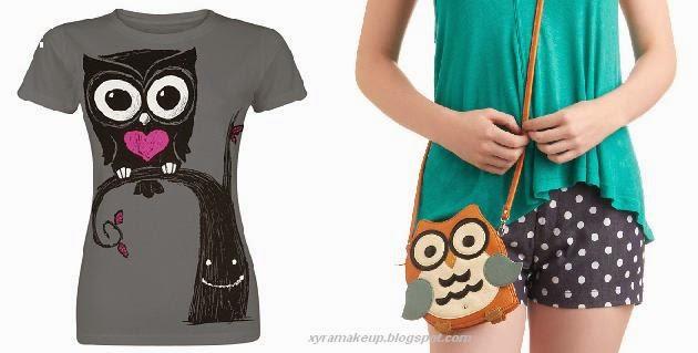 t-shirt e borsa con gufi