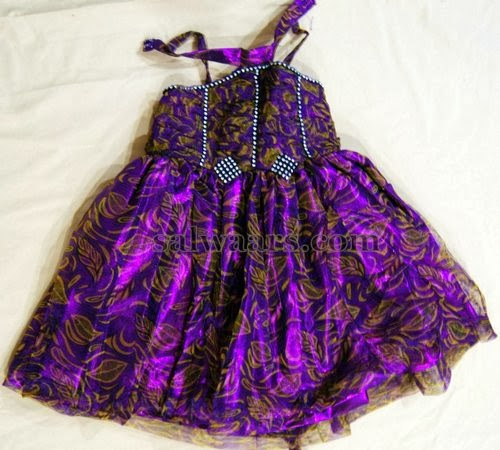 Purple Fancy Net Frock for 1 Year