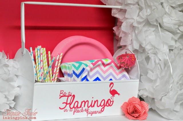 SRM Stickers Blog - Vinyl Flamingo Fun with Shantaie - #vinyl #pink #matte #homedecor #picnic #DIY