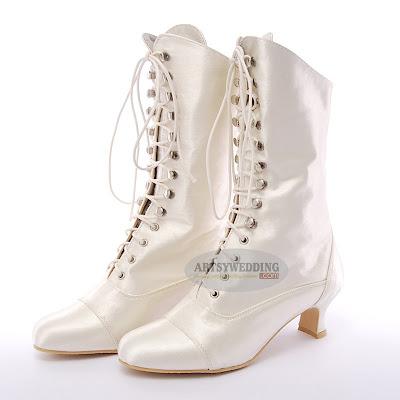 Satin bridal boots
