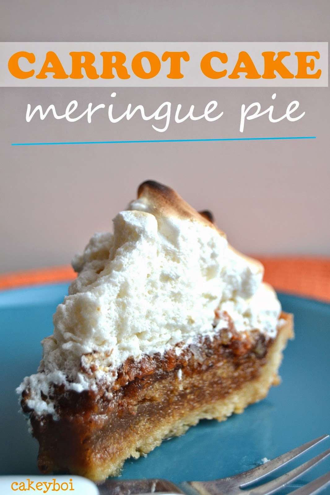 molten carrot cake in a pie shell topped with fluffy marshmallow meringue