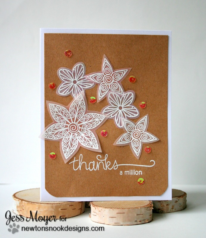 Colored Vellum Flower Card by Jess Moyer featuring Newton's Nook Designs Beautiful Blossoms