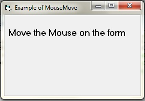 Example of MouseMove event