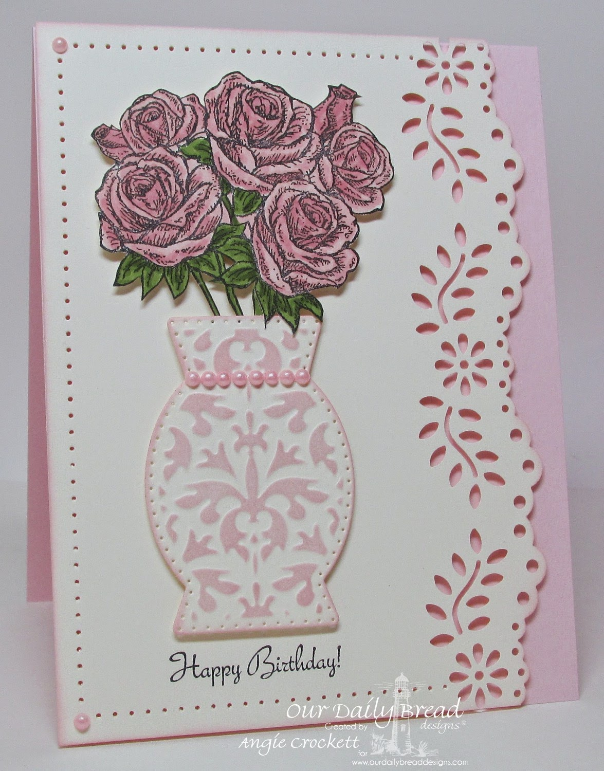 ODBD Rose Bouquet, ODBD Custom Decorative Vase Die, Card Designer Angie Crockett