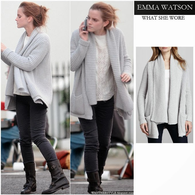 მსოფლიო მოდის (სტილის) აიქონები !!!  Emma+watson+in+grey+knit+cardigan+by+Autumn+Cashmere+and+skinny+jeans+with+biker+boots+on+october++26+2013+in+london+what+she+wore