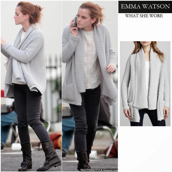 მსოფლიო მოდის (სტილის) აიქონები !!!  Emma+watson+in+grey+knit+cardigan+by+Autumn+Cashmere+and+skinny+jeans+with+biker+boots+on+october++26+2013+in+london+what+she+wore