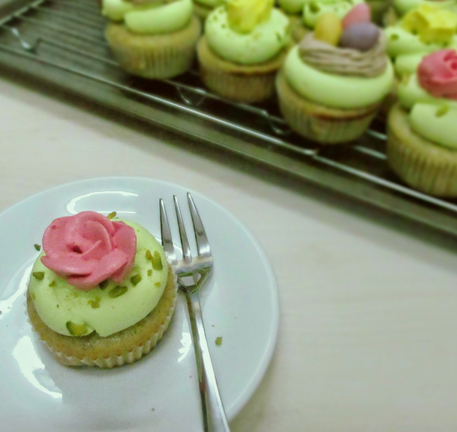 Darlene made this: Pistachio Rose Cupcakes