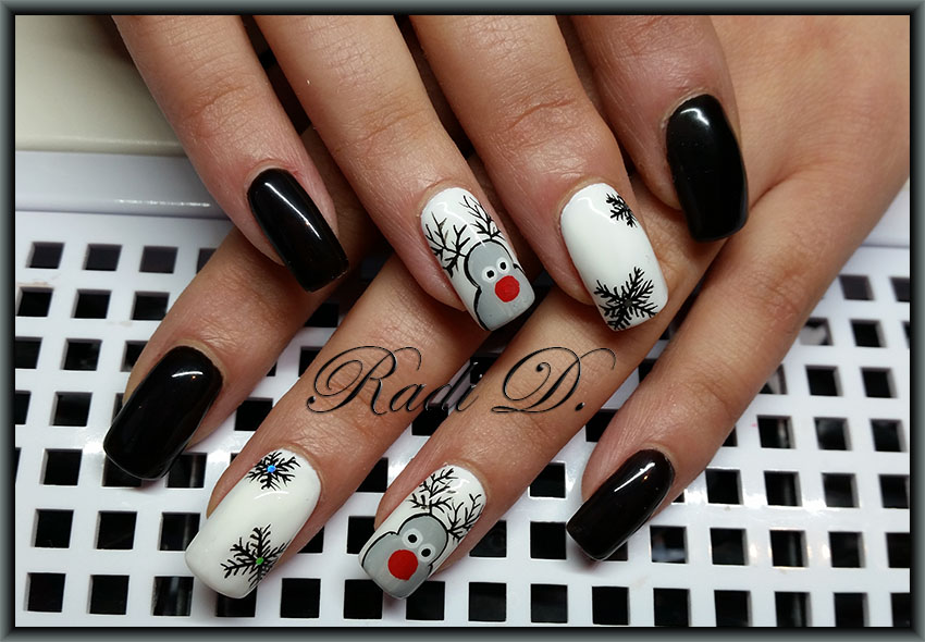 The White Base Is Made With Bluesky Gel Polish 501 On Index Nails I Painted Reindeers In Grey And Middle Finger Nail Snowflakes Black