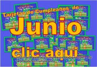 Junio . Tarjetas de Cumpleaños con fecha del Mes