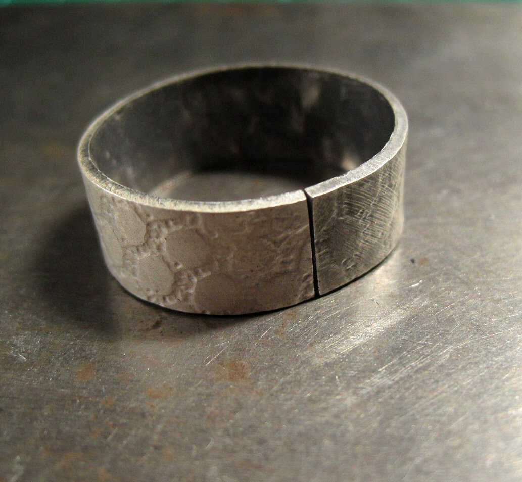 silver jewellery class 1st project textured band ring