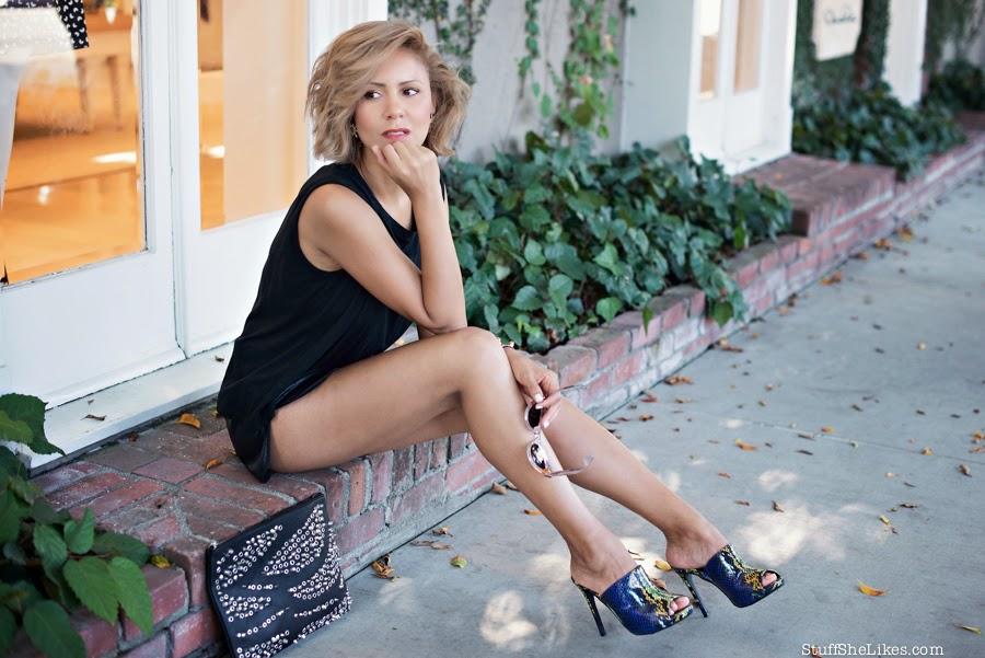 vegan leather shorts, micheal stars tee, studded clutch, cc skye, top ten fashion blogger, best fashion blogger, Los Angeles fashion blogger, Mules, shoe dazzle, miu mui sunglasses, clear sunglasses, blogger, Style,