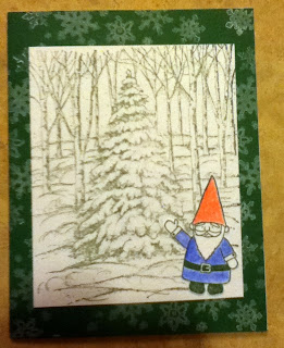 Fun with masking!  This gnome stamp cracks me up.