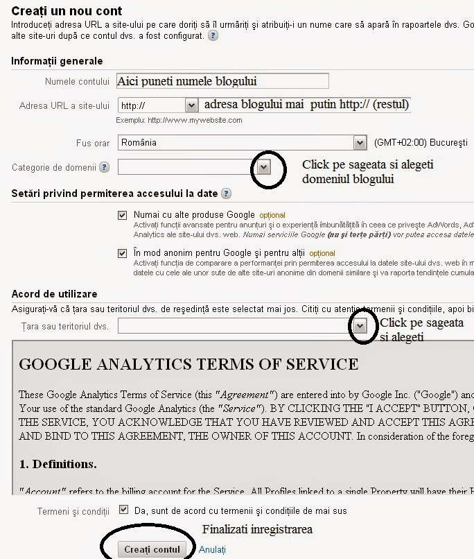 account google analytics