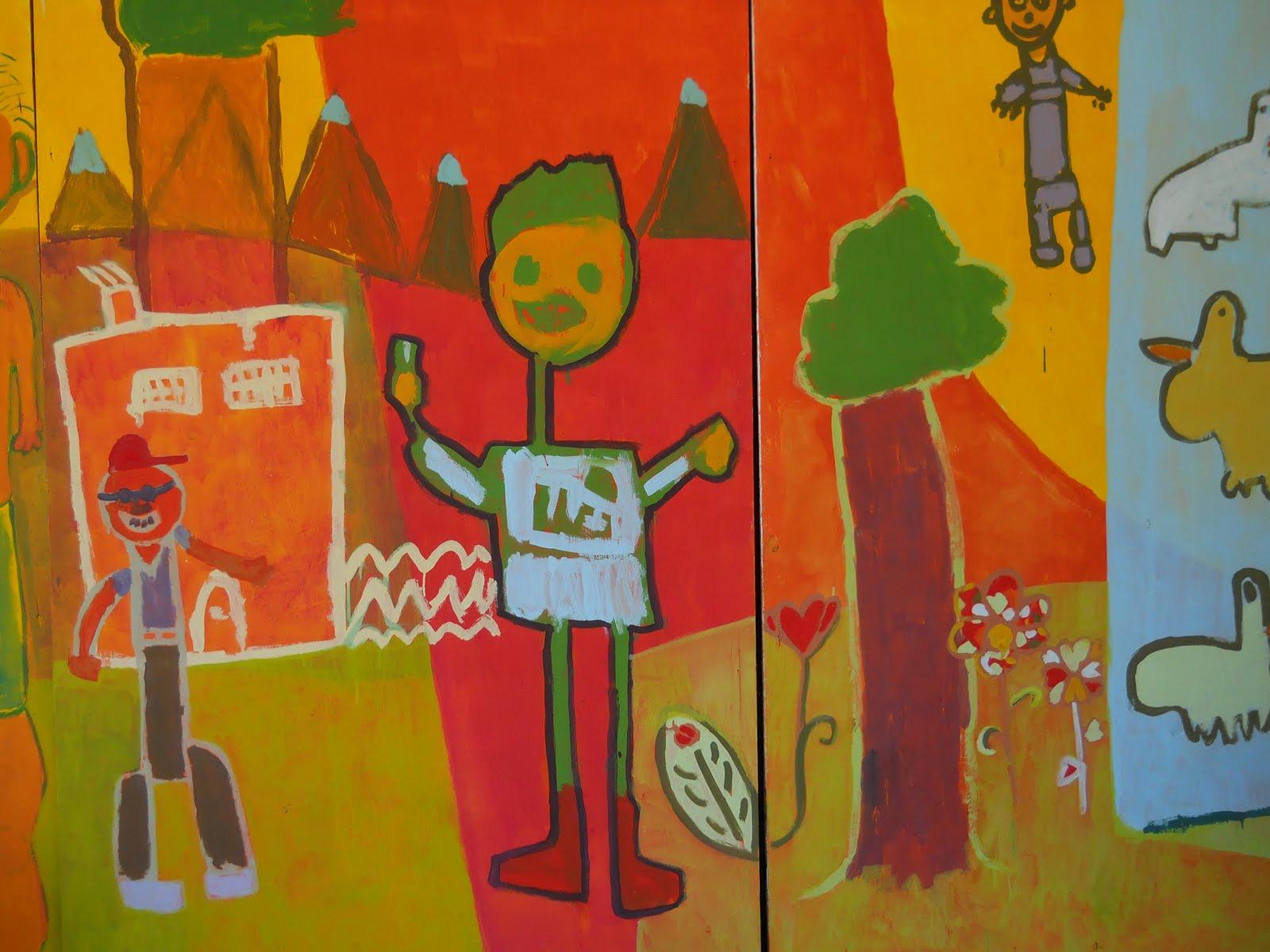 Taller de muralismo con ni os murales realizados con ni os en el primer encuentro de arte - Murales para ninos ...