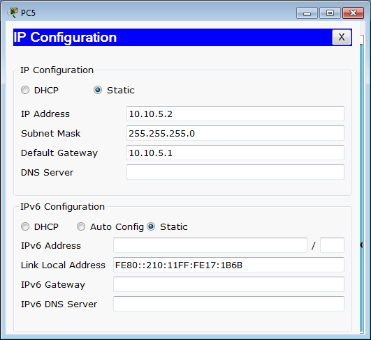 IP configuration PC5